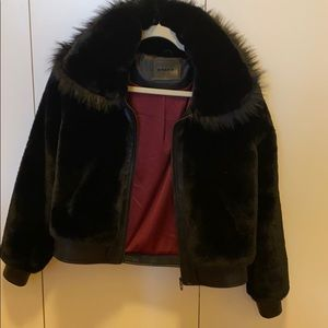 Blank NYC faux fur and faux leather jacket